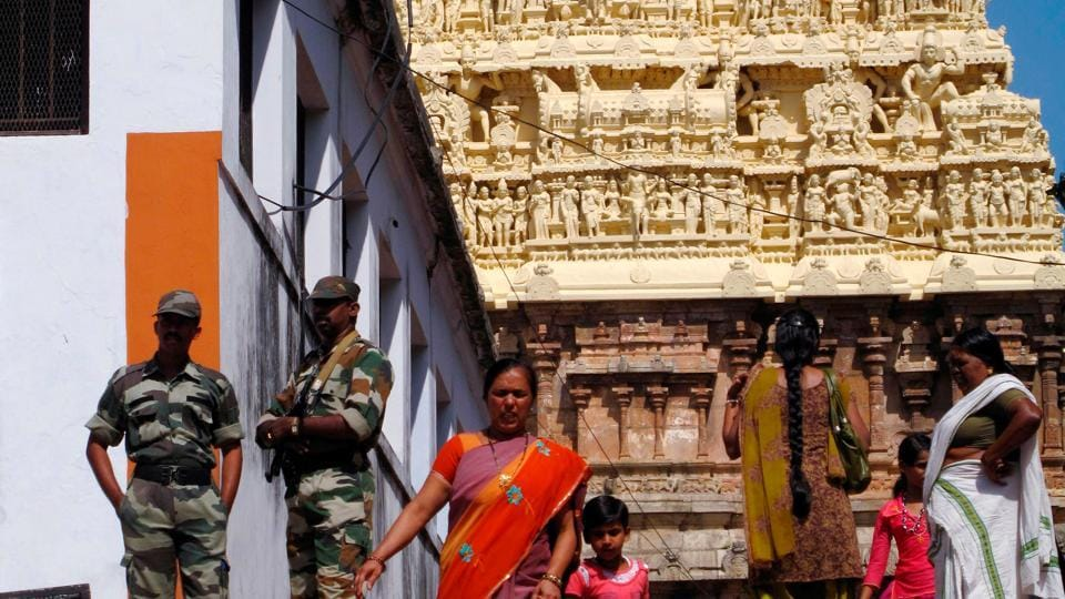Hindu devotees visit the Sree Padmanabhaswamy temple in Kerala state in southern India.