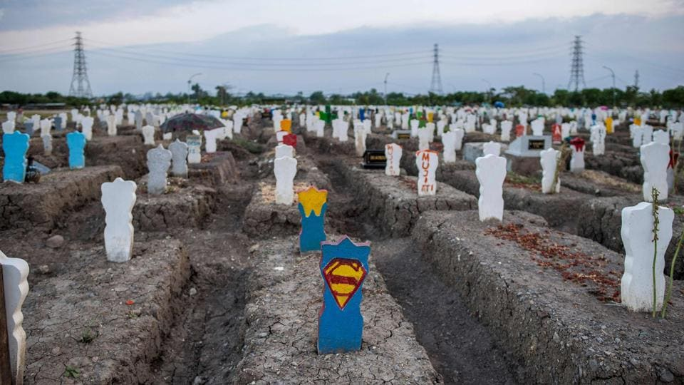 A view of a burial site for people who died of coronavirus disease (Covid-19) at Keputih cemetery in Surabaya, Indonesia on September 26. Deaths due to Covid-19 around the world crossed the 1 million mark on September 27. (Juni Kriswanto / AFP)