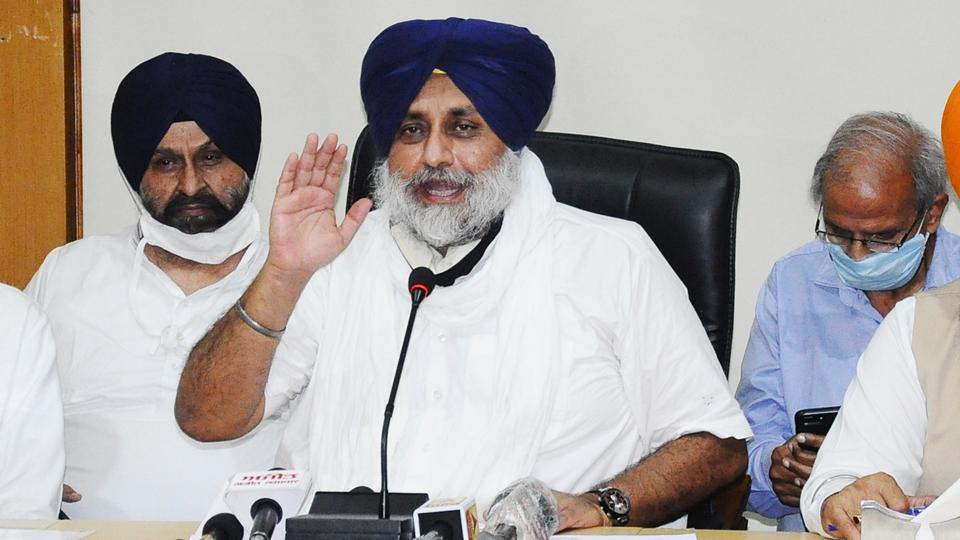 SAD chief Sukhbir Singh Badal addressing the media after the party's core committee meet.