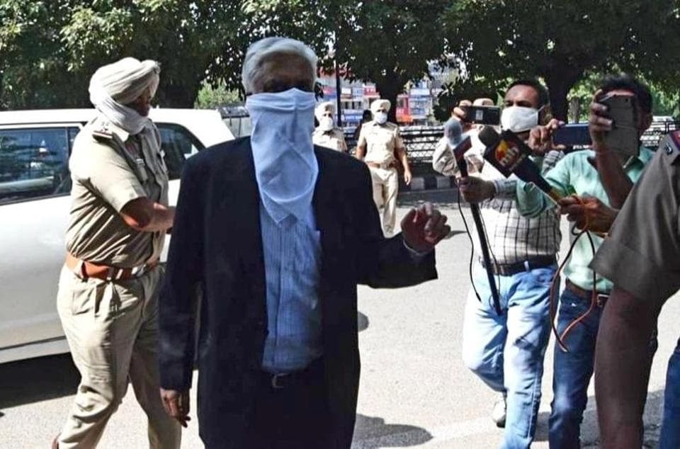 Former Punjab Police chief Sumedh Singh Saini arriving to depose before the special investigation team (SIT) at Mataur police station in Mohali on Monday.