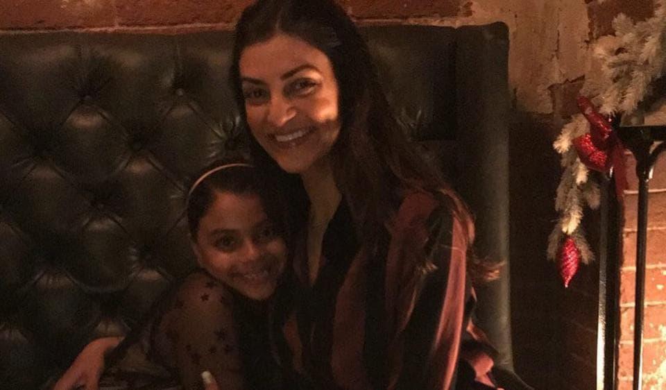 Sushmita Sen with her younger daughter, Alisah.