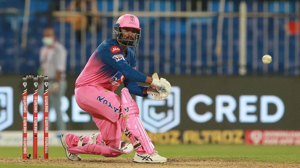 IPL 2020: Rahul Tewatia attempts to play a shot
