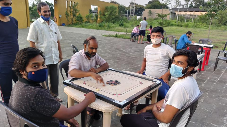 People playing carrom at the Covid Centre at Balnagri, Bhosari.