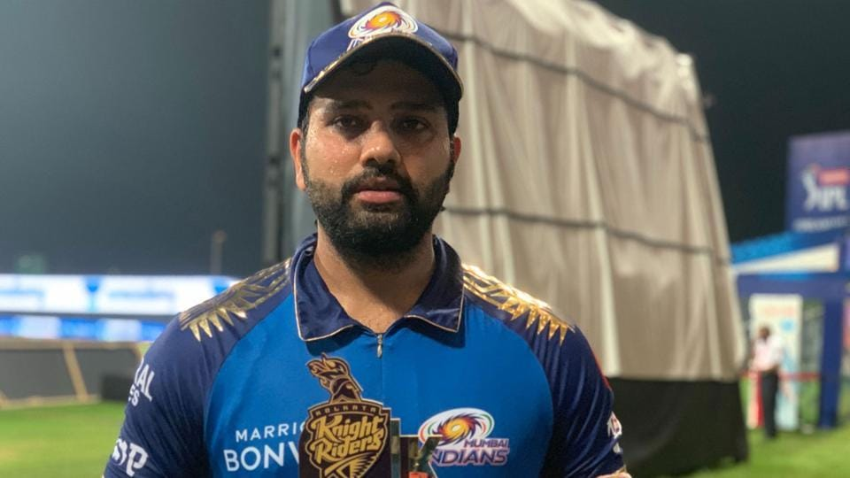 Mumbai Indians captain Rohit Sharma with the Player of the Match trophy.