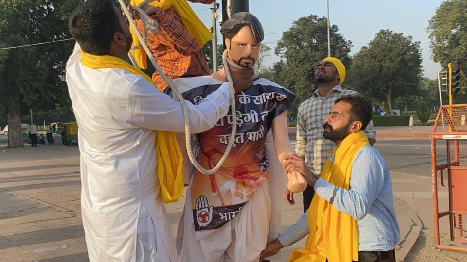 "Farmers protesting against ""anti-farmer"" bills at India Gate in New Delhi"