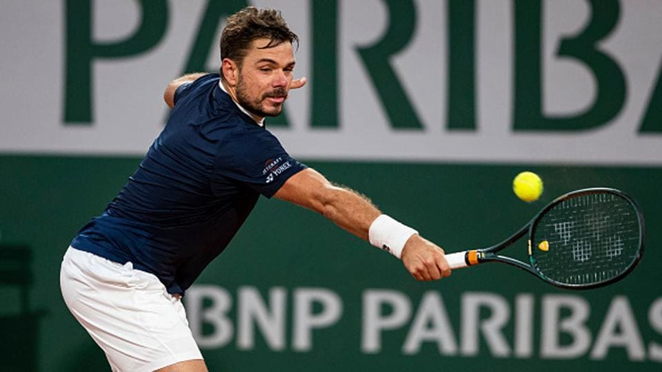 Stan Wawrinka in action against Andy Murray