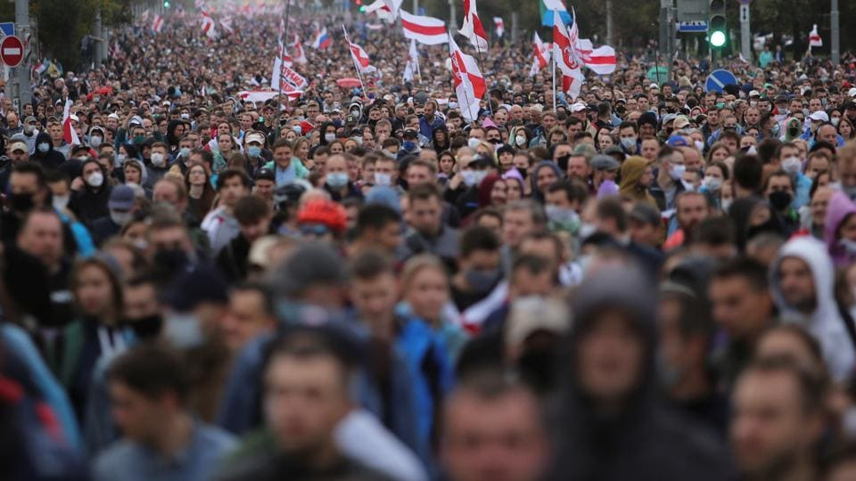 Hundreds of thousands of Belarusians have been protesting daily since the Aug. 9 presidential election, which officials claim handed Lukashenko, a 66-year-old former state farm director, a victory with 80% of the vote.