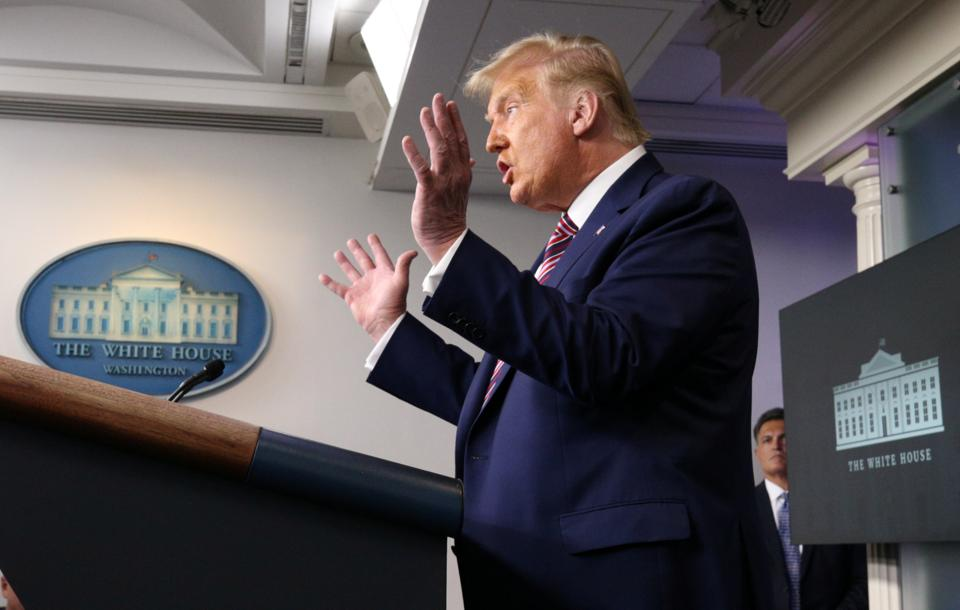US president Donald Trump speaks to reporters during a news conference inside the James S. Brady Briefing Room at the White House September 27, 2020 in Washington.