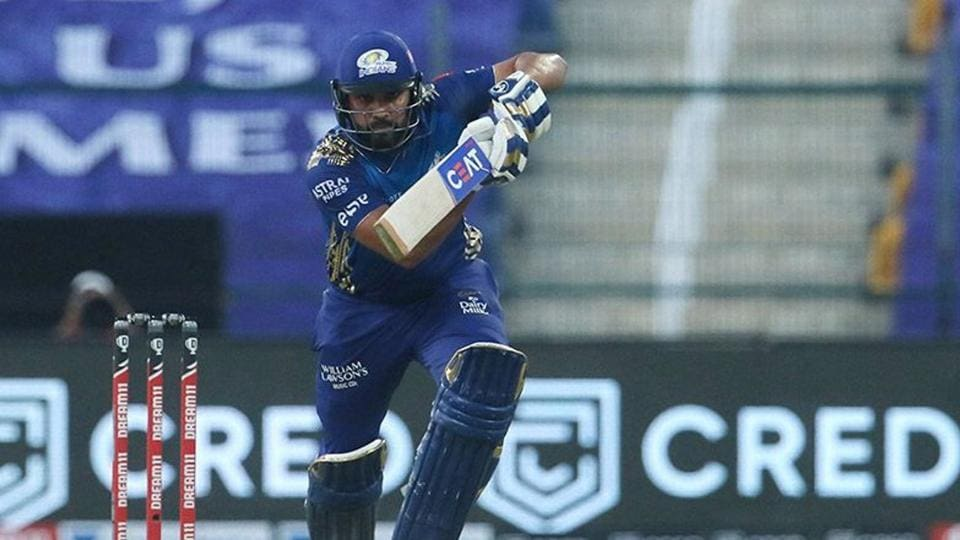 Mumbai Indians Skipper Rohit Sharma plays a shot during the first cricket match of IPL 2020 against Chennai Super Kings.
