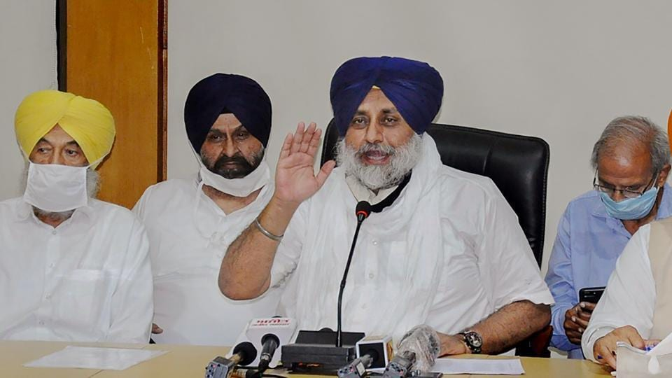 Shiromani Akali Dal president Sukhbir Singh Badal addresses a press conference after SAD's core committee meeting, as he announces the party's decision to quit National Democratic Alliance, in Chandigarh on Saturday.