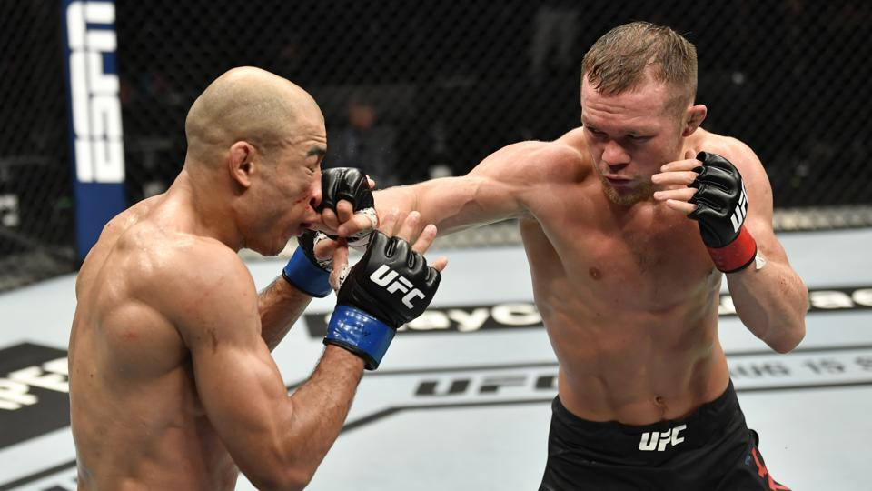 Petr Yan of Russia during his TKO victory over Jose Aldo in their UFC bantamweight championship fight during the UFC 251 event at Flash Forum on UFC Fight Island on July 12, 2020 on Yas Island, Abu Dhabi, United Arab Emirates.