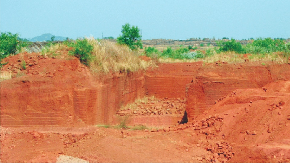 A laterite quarry during dry season in Goa.