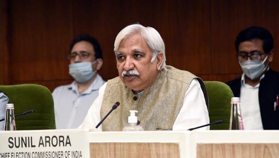 Chief Election Commissioner, Sunil Arora holding a press conference to announce the schedule for Bihar Legislative Assembly Elections (ANI Photo)