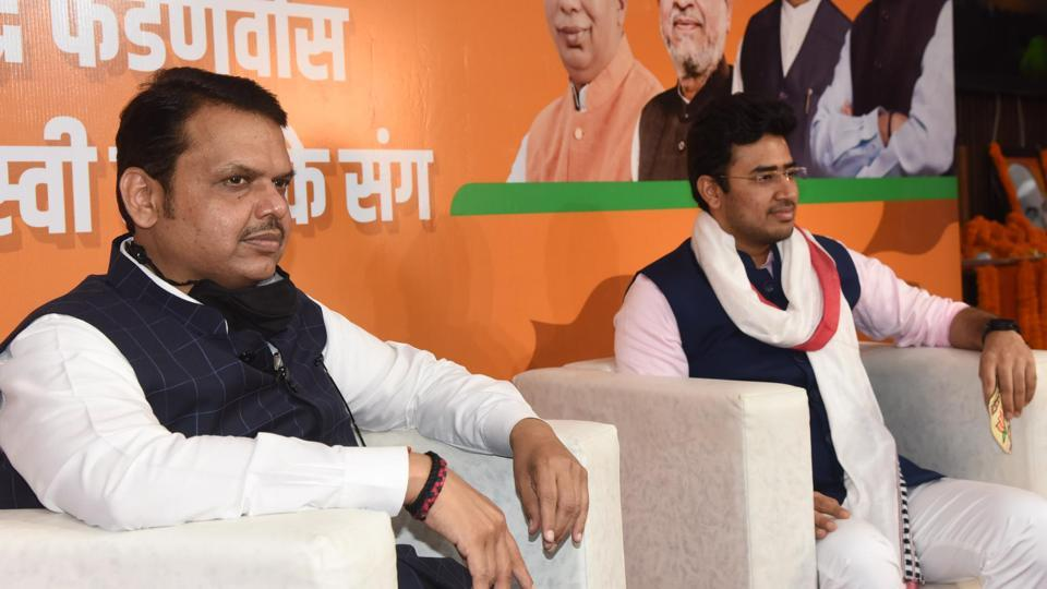 Former Maharashtra Chief Minister and Bihar BJP Election In-charge Devendra Fadnavis at a 'Yuva Samwad' event at BJP office in Patna on Monday.