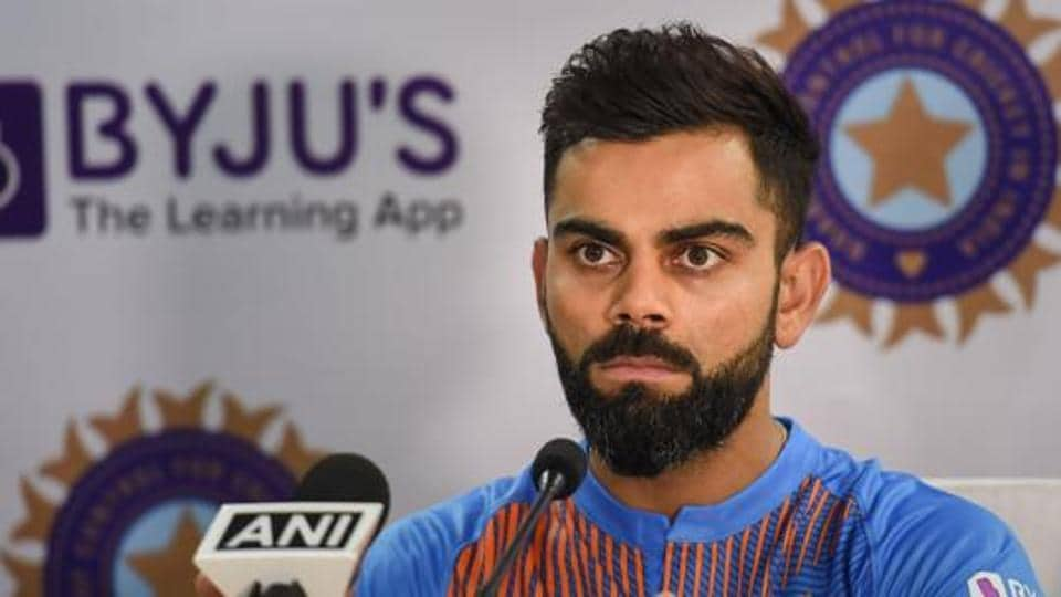 Indian cricket team captain Virat Kohli during a press conference in Dharamshala.