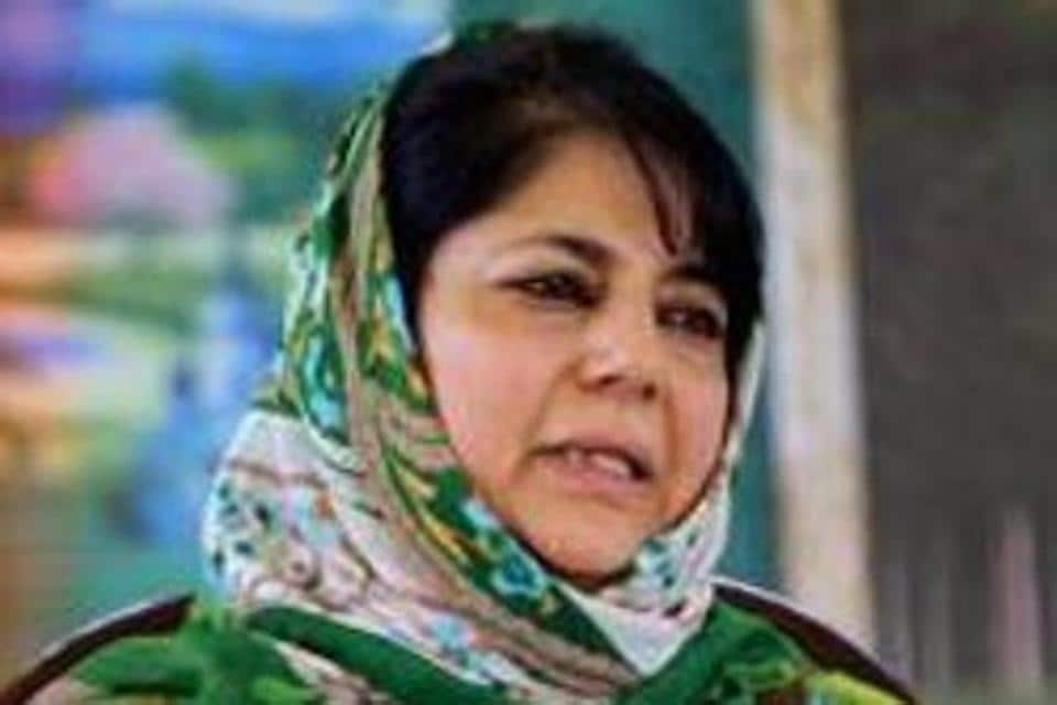 Peoples Deomocratic Party (PDP) president Mehbooba Mufti addresses a press conference in Srinagar in this file photo. Mufti was release after being in detention for more than a year.