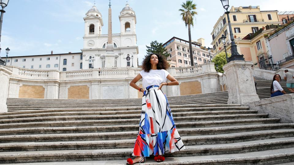 Italian-Haitian fashion designer Stella Jean poses for a picture along the Spanish Steps ahead of the
