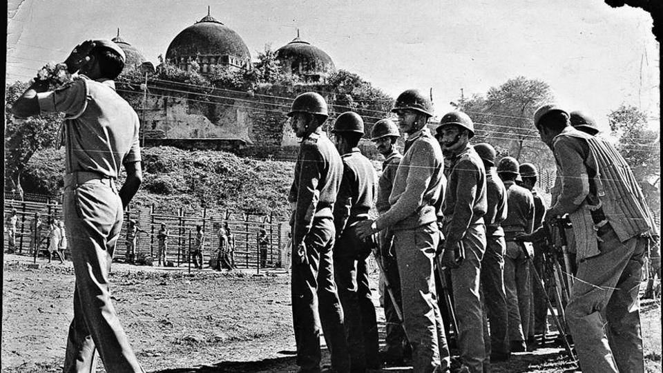Paratroops guarding the Babri Masjid at Ayodhya on October 20, 1997. A special CBI court acquitted 32 people accused of conspiring to demolish the Babri Masjid in 1992.