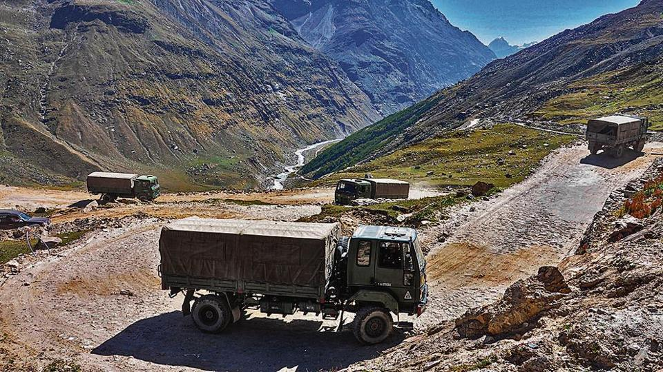 An army convoy carrying military material on its way to Ladakh  at Manali-Leh highway.