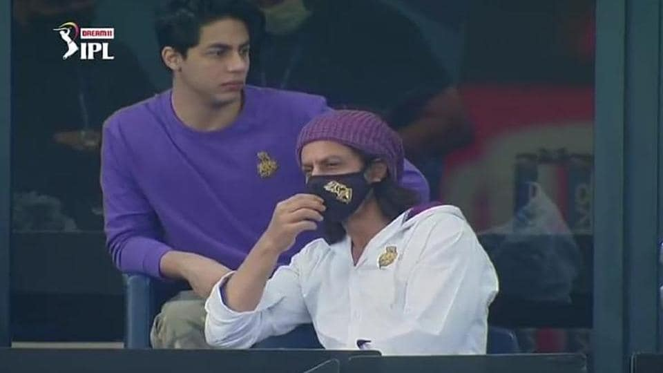 IPL 2020: Shah Rukh Khan with his son during the KKR vs RRmatch in Dubai