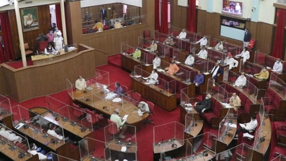 With one-third of the 147 MLAs including deputy Speaker Rajani Kant Singh infected by Covid-19, less than 100 MLAs attended the Assembly as they sat away from each other with clear plastic boards separating them.