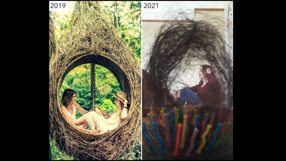 The image shows a creative recreation of a travel photo by Sharon Waugh.