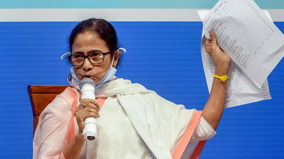 West Bengal chief minister Mamata Banerjee during an administrative review meeting in Siliguri on Tuesday.