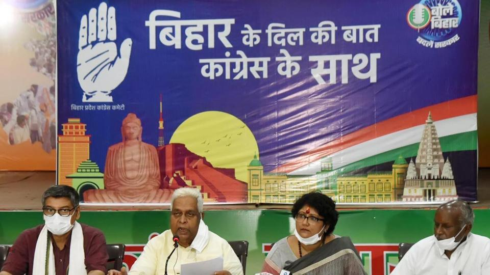 Congress leader Sadanand Singh (second from left) addressing a press conference at Sadaquat Ashram in Patna on Tuesday.