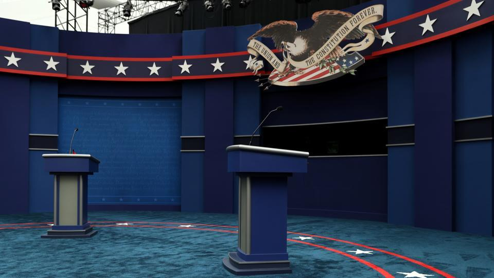 The stage awaits US President Donald Trump and Democratic US presidential nominee and former Vice President Joe Biden before their first presidential debate on the campus of the Cleveland Clinic in Cleveland, Ohio.