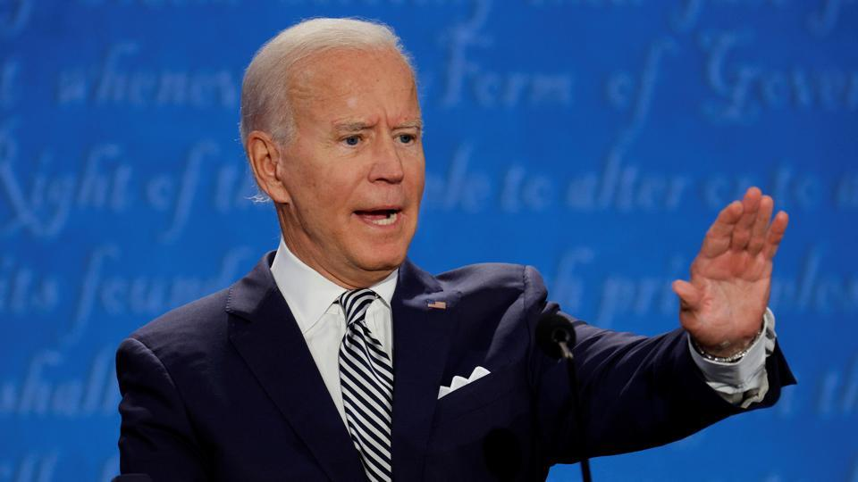 Democratic presidential nominee Joe Biden participates in the first 2020 presidential campaign debate with US President Donald Trump.