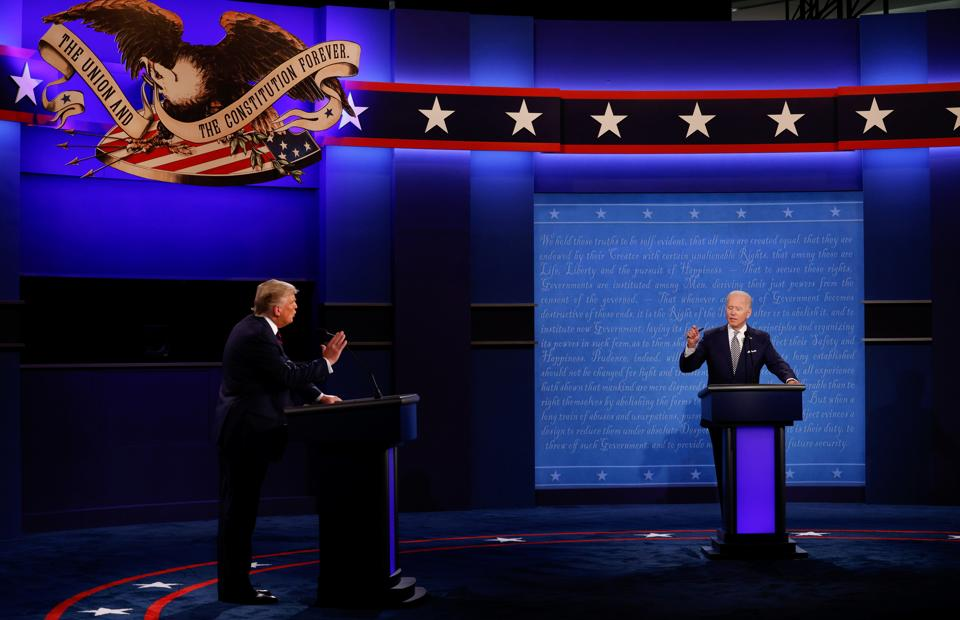 US President Donald Trump and Democratic presidential nominee Joe Biden participate in their first 2020 presidential campaign debate held on the campus of the Cleveland Clinic at Case Western Reserve University in Cleveland, Ohio (REUTERS/Brian Snyder)