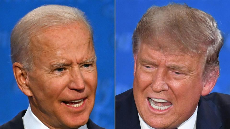 Democratic Presidential candidate Joe Biden (L) and US President Donald Trump speaking during the first presidential debate at the Case Western Reserve University and Cleveland Clinic in Cleveland, Ohio on September 29.