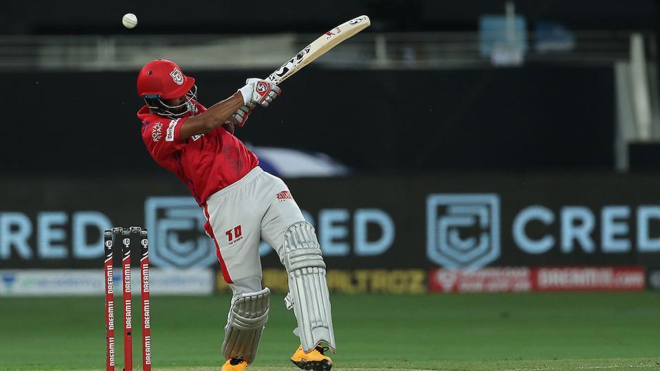 IPL 2020 KXIP vs MI: KL Rahul in action.