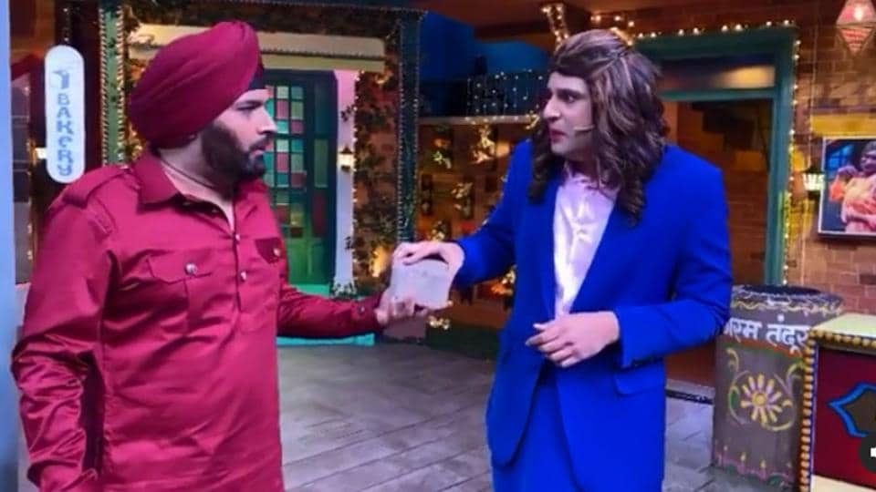 Kapil Sharma and Krushna Abhishek in a still from the video.