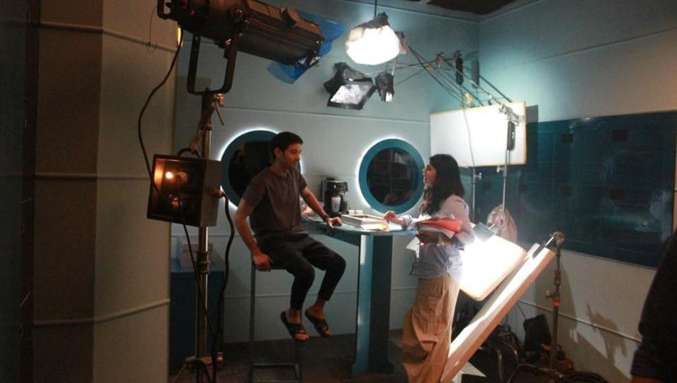 Arati Kadav and Vikrant Massey on sets of Cargo.