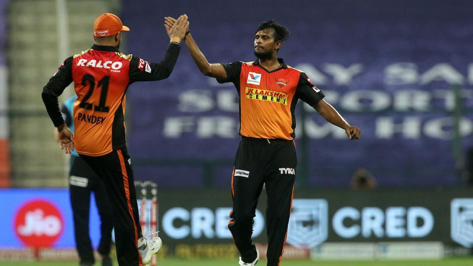 IPL 2020: T Natarajan celebrates a wicket.
