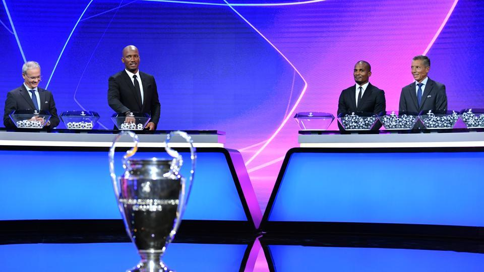 Soccer Football - Champions League - Group Stage Draw - Geneva, Switzerland - October 1, 2020 Didier Drogba, Florent Malouda and UEFA General Secretary and Director of Football Giorgio Marchetti during the draw UEFA Pool/Handout via REUTERS??ATTENTION EDITORS - THIS IMAGE HAS BEEN SUPPLIED BY A THIRD PARTY. NO RESALES. NO ARCHIVES