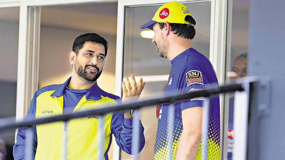 MS Dhoni captain of Chennai Superkings with Stephen Fleming, head coach of Chennai Super Kings
