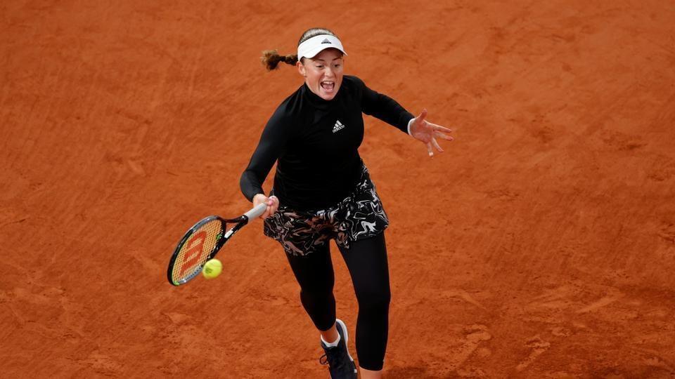 Latvia's Jelena Ostapenko in action during her second round match Czech Republic's Karolina Pliskova