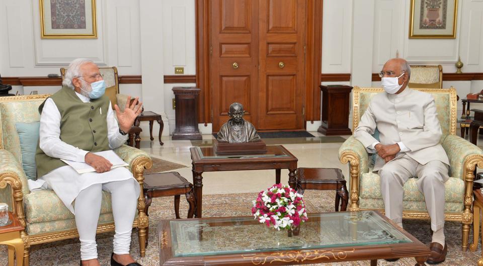 Prime Minister Narendra Modi interacts with President Ram Nath Kovind at Rashtrapati Bhavan on July 5, 2020. (Photo by Rashtrapati Bhavan)