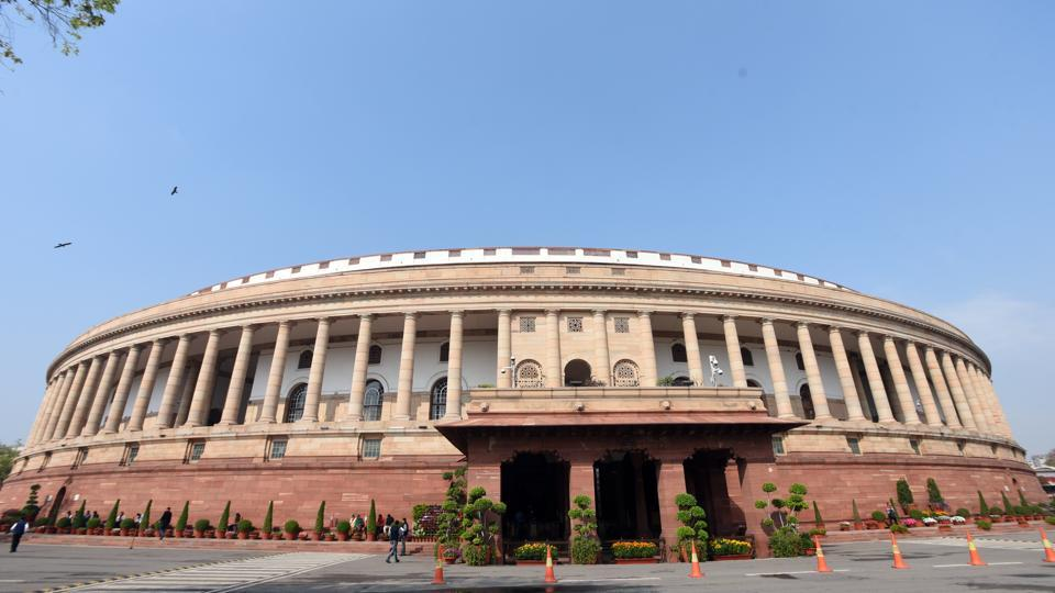 New Delhi, India- March 11, 2020: A view of Parliament house during Budget Session in New Delhi, India on Wednesday, March 11, 2020.