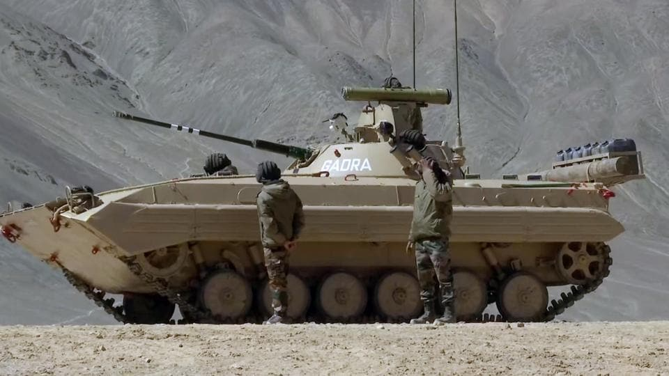 Soldiers of the Indian Army operating T-90 Bhishma tank near the Line of Actual Control in the Chumar-Demchok area of Eastern Ladakh on Sunday.