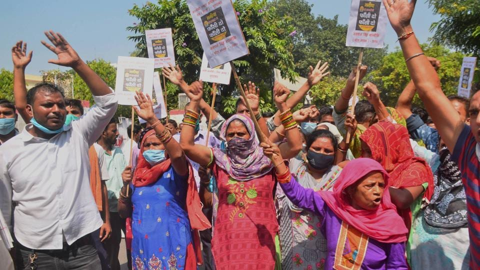Members of the Valmiki community in Moradabad stage a protest against the death of a 19-year-old Dalit woman.