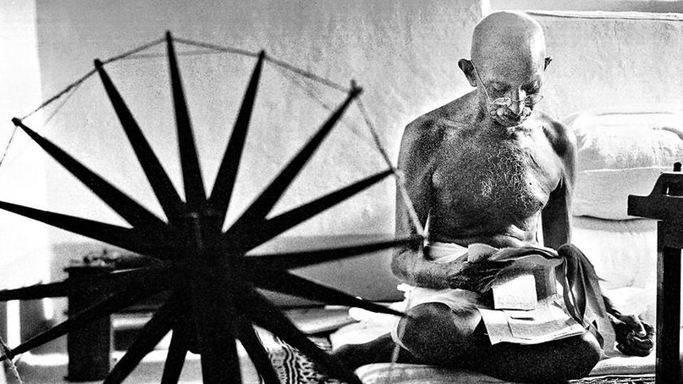 A photograph of MK Gandhi taken by Margaret Bourke-White in 1946 for Life magazine.