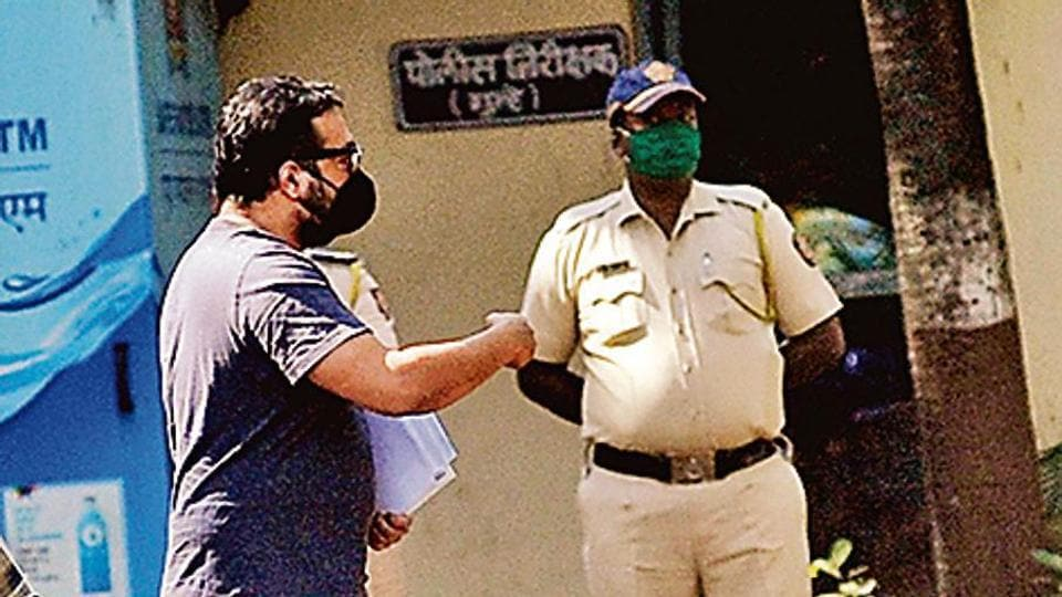 Filmmaker Anurag Kashyap with Versova Police officials.