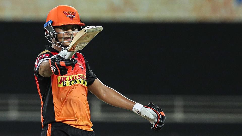 Dubai: Sunrisers Hyderabad batsman Priyam Garg raises his bat after scoring a half century during the Indian Premier League 2020 cricket match against Chennai Super Kings, at Dubai International Cricket Stadium, in Dubai, Friday, Oct. 2, 2020. (PTI Photo/Sportzpics for BCCI)(PTI02-10-2020_000314A) (PTI)
