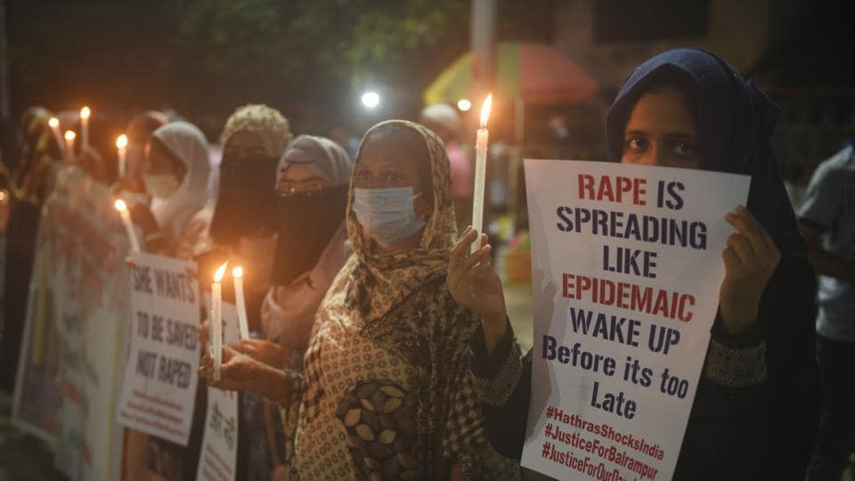 Members of the Jamat-e-Islami Hind staging a candlelight protest against the Hathras rape case at Esplanade crossing in Kolkata, West Bengal on October 01, 2020.