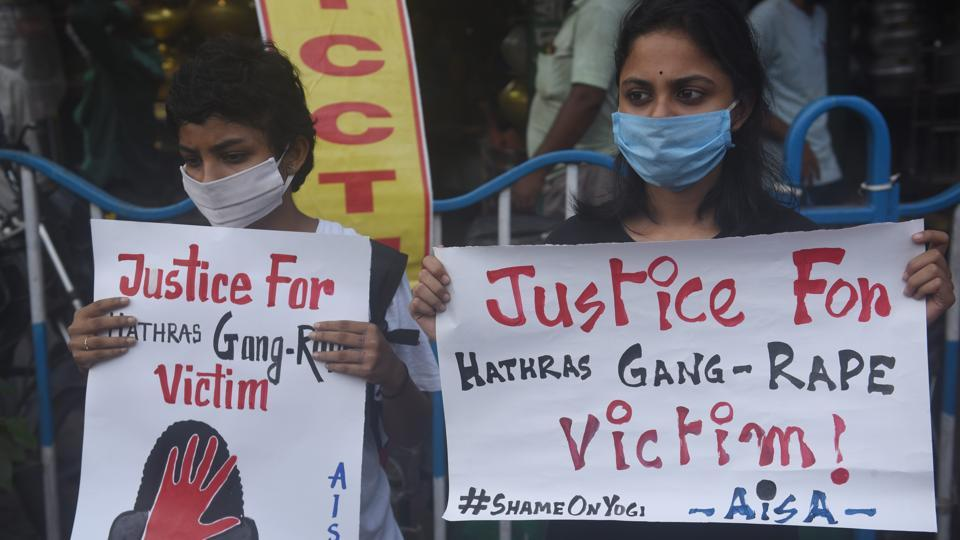 All India Students' Association (AISA) members stage a protest against the Hathras rape case, at Moulali crossing in Kolkata on October 1, 2020.