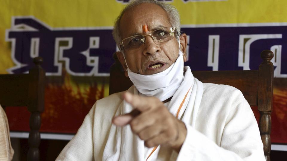 Ram Janmabhoomi Teerth Kshetra Trust general Ssecretary Champat Rai addresses a press conference at VHP headquaters in Prayagraj on October 2.