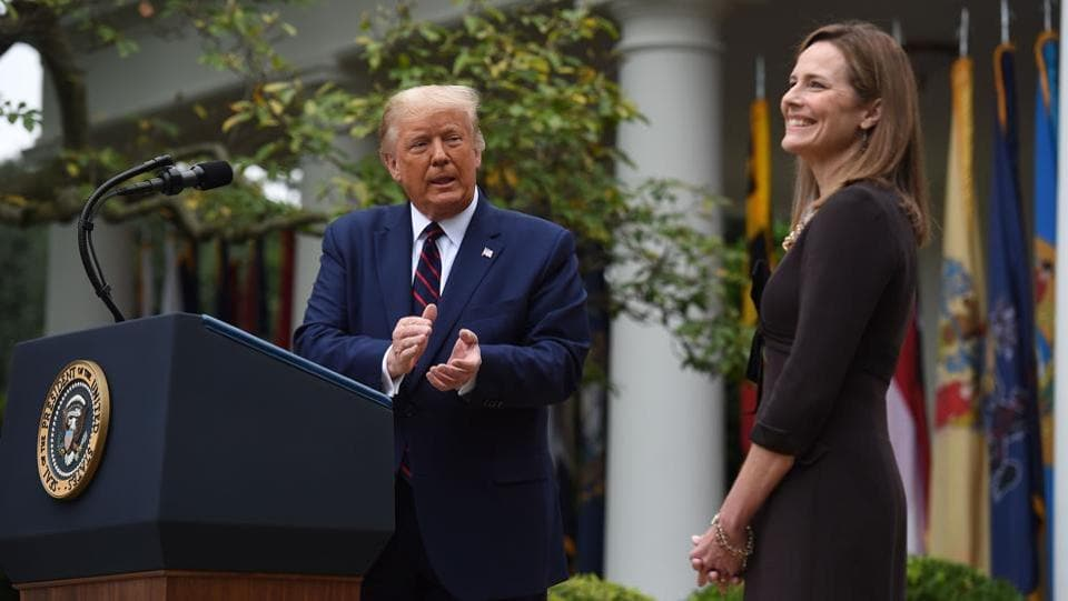 US President Donald Trump announces his US Supreme Court nominee, Judge Amy Coney Barrett at the Rose Garden of the White House in Washington, DC on September 26. Four people who attended the Rose Garden ceremony—Sens. Mike Lee and Thom Tillis, University of Notre Dame president John Jenkins and former White House counsellor Kellyanne Conway— announced on October 2 that they had tested positive for the virus. (Olivier Douliery / AFP)